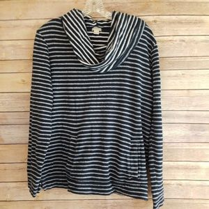 J Crew Cowl Neck Top Striped Pockets Long Sleeves